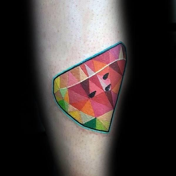 Guys Geometric Forearm Watermelon Tattoo Deisgns