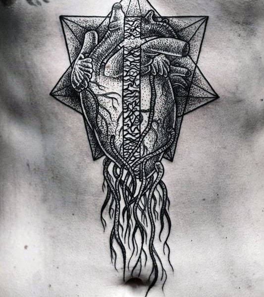 Guys Geometric Heart Chest Tattoo Designs