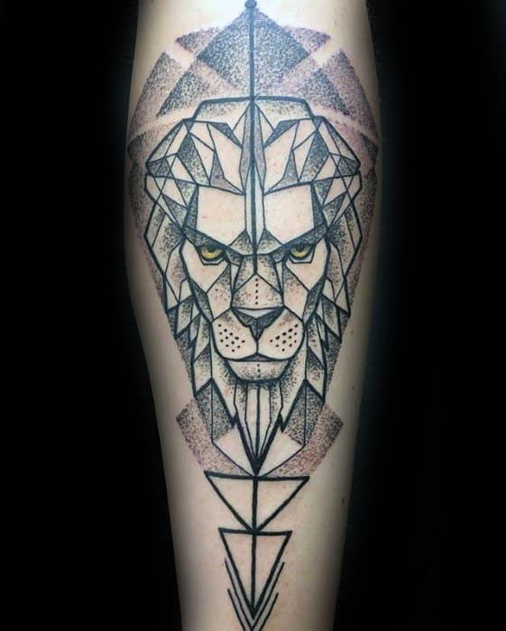 Guys Geometric Lion Forearm Tattoo Deisgns