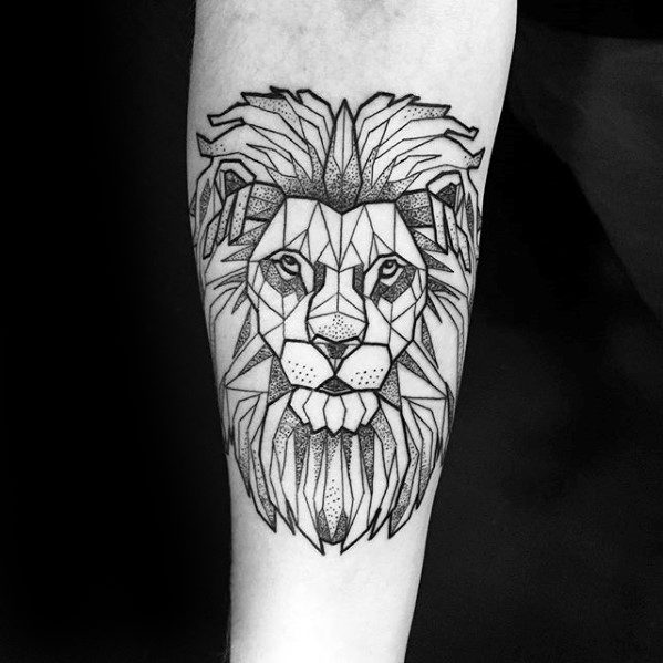 Guys Geometric Lion Tattoos On Forearm