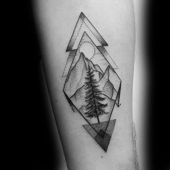 Guys Geometric Mountain Tattoo Design Ideas