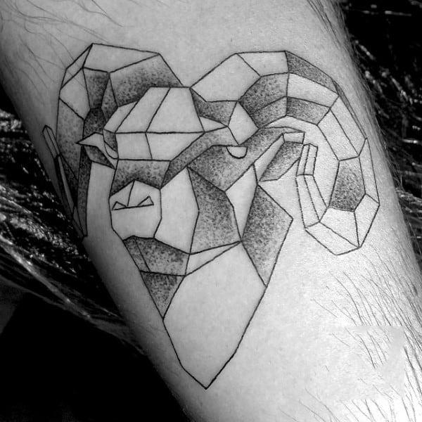 Guys Geometric Shaded Aries Arm Tattoo Of Ram