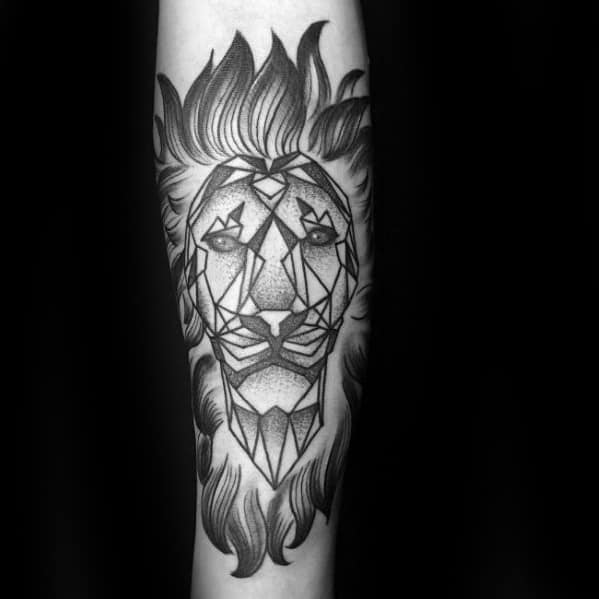 Guys Geometric Shaded Black And Grey Ink Forearm Lion Tattoo