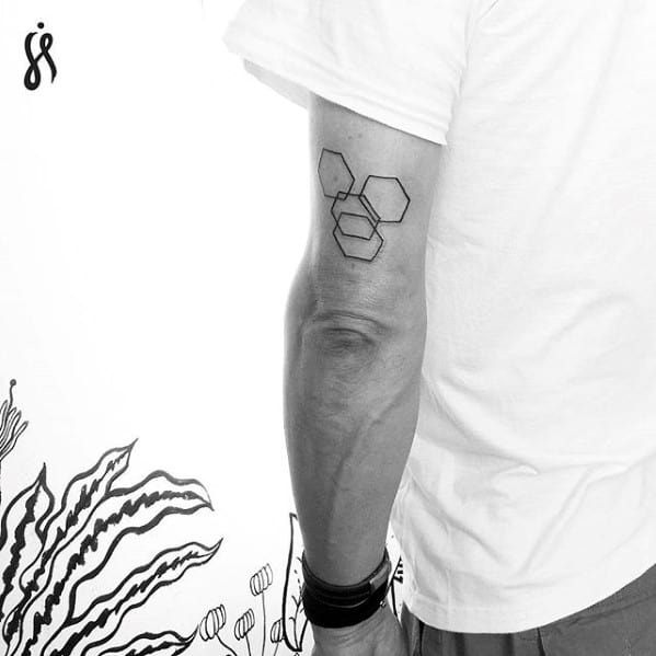 Guys Geometric Shapes Simple Outer Arm Tattoo
