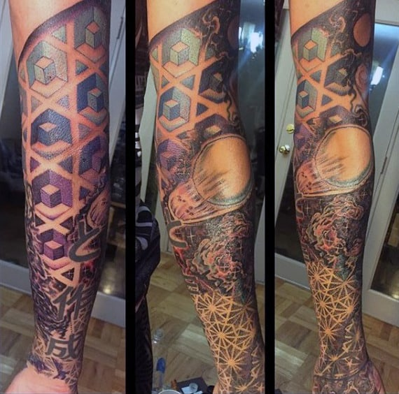Guys Geometric Tattoo Patterns With Outer Space Theme