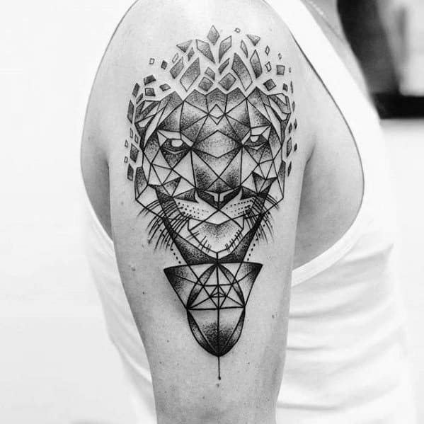 Guys Geometric Tiger Tattoo Design Ideas