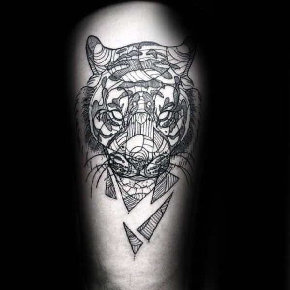 Guys Geometric Tiger Tattoo Designs