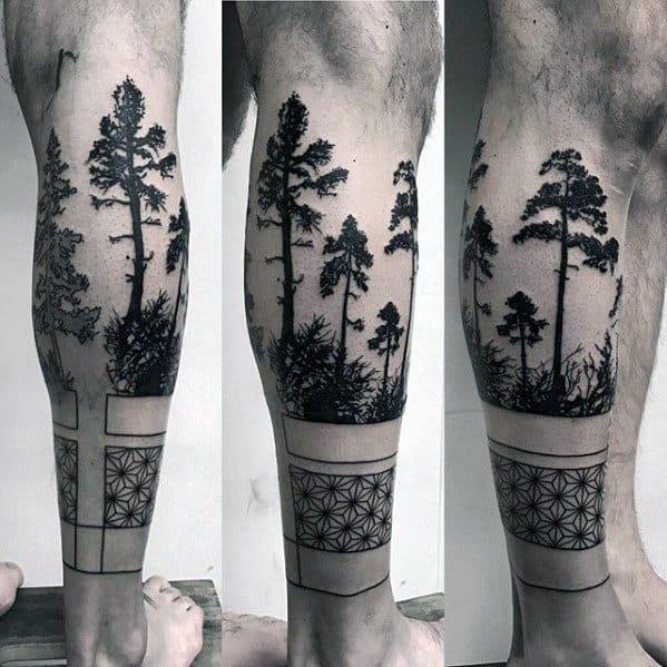 Guys Geometric Trees Leg Band Tattoo Design Ideas