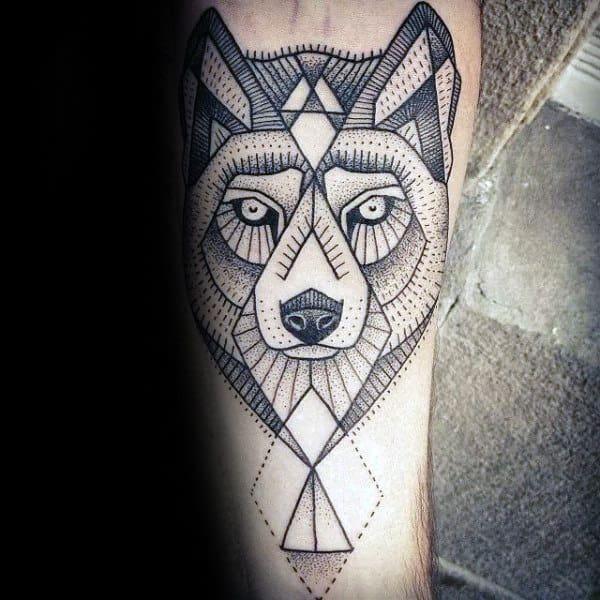 Guys Geometric Wolf Dotwork Inner Forearm Tattoos