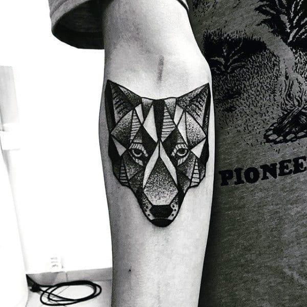 Guys Geometric Wolf Tattoo On Inner Forearm