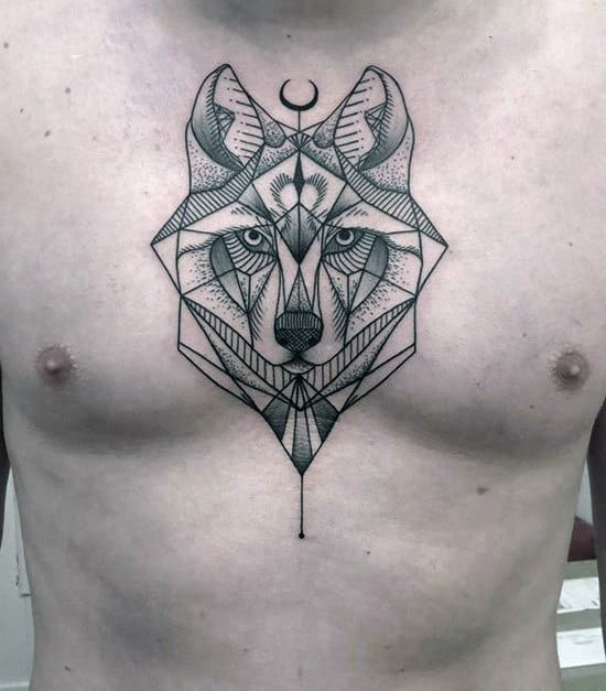 Guys Geometrical Dotwork Wolf Middle Of Chest Tattoo Designs