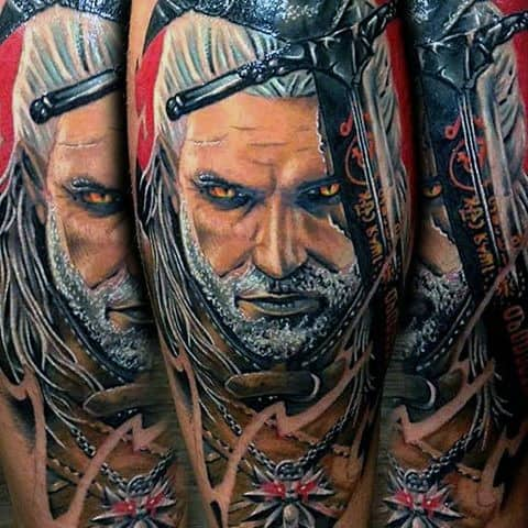 Guys Geralt Tattoo Design Ideas