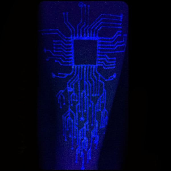 Guys Glowing Computer Chip Black Light Uv Ink Tattoo Design