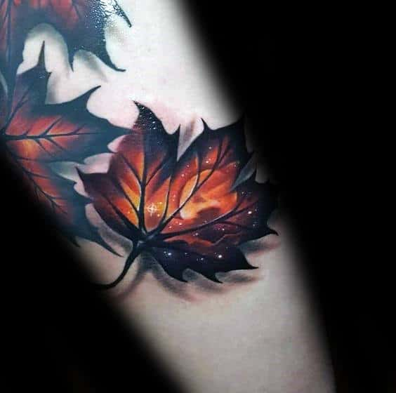Guys Glowing Fall Leaf Forearm Tattoo