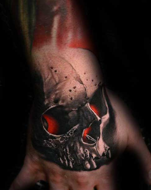 Guys Glowing Red Skull 3d Hand Tattoo Designs