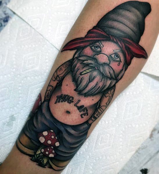 Guys Gnome Tattoo Design Ideas