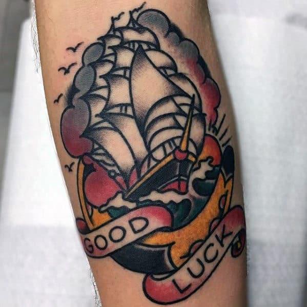 Guys Good Luck Sailing Ship Horseshoe Old School Traditional Forearm Tattoo