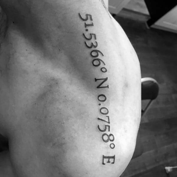 Guys Gps Coordinate Tattoo Design Ideas