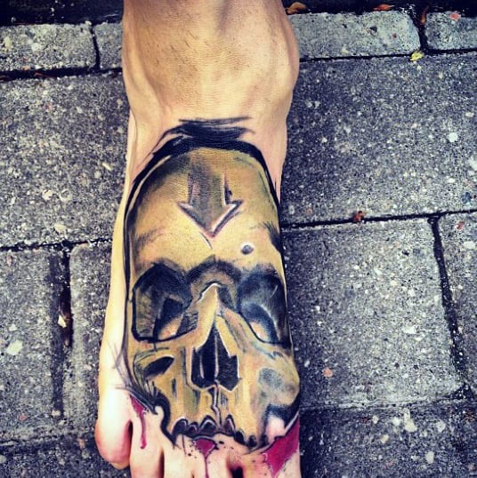 Guys Graffiti Skull Foot Tattoo