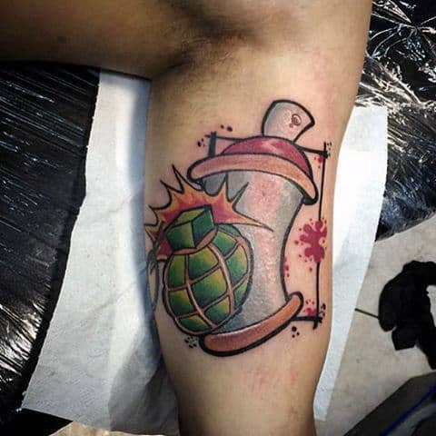 Guys Graffiti Spray Paint Can With Grenade Tattoo On Bicep