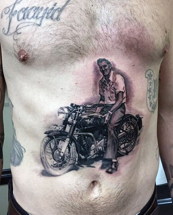 Guys Grandfather Riding Motorcycle Hyper Realistic Chest Tattoo