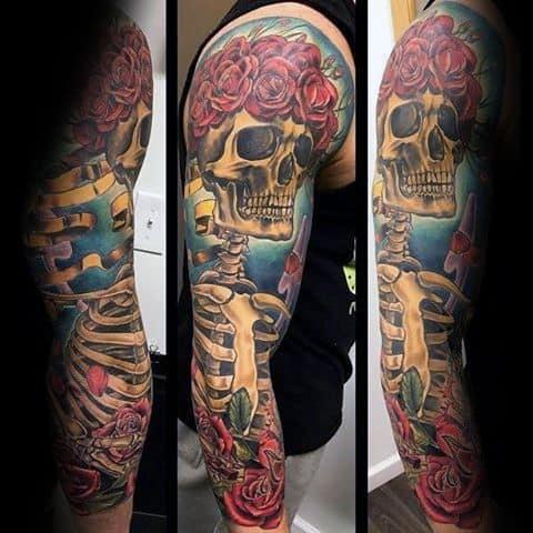 Guys Grateful Dead Tattoo Sleeve Design Ideas