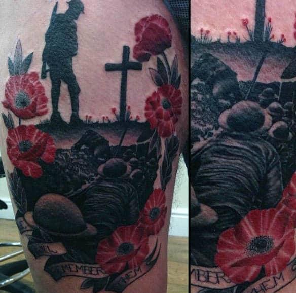 Guys Grave Battlefield Memorial Poppy Tattoos On Thigh Of Leg