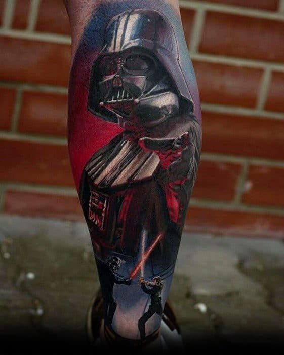 Guys Greatest Star Wars Themed Tattoo Design Ideas Leg Sleeve