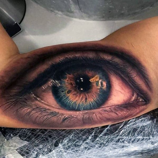 Guys Greatest Tattoo 3d Eye On Inner Arm Bicep