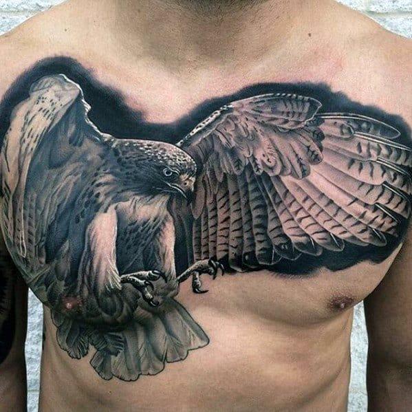 Guys Greatest Tattoos Ideas Flying Owl Design On Chest