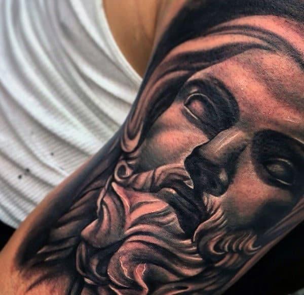 Guys Greek God Modern Black And Grey Upper Arm Tattoo