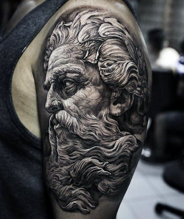 Guys Greek God Statue Half Sleeve Tattoos With Greatest Design