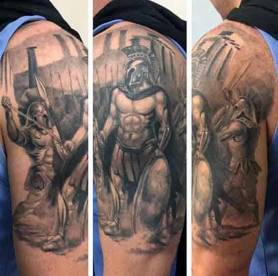 Guy's Greek Spartan Warrior Tattoos