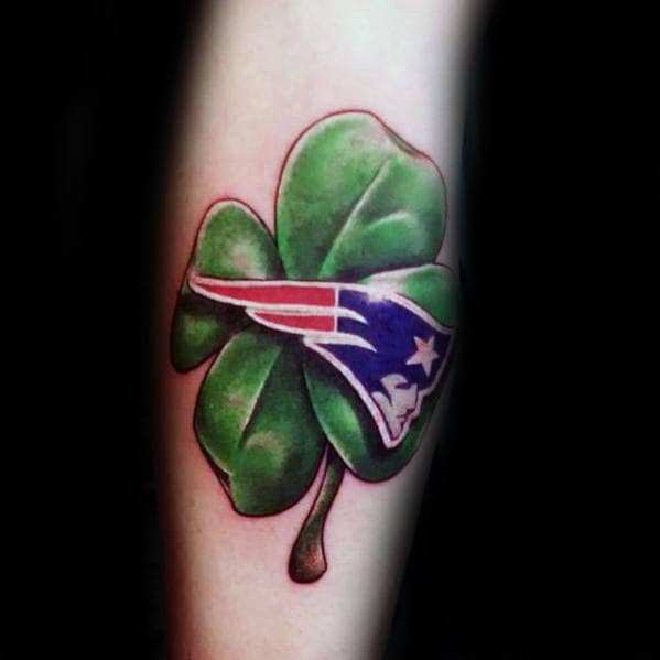 Guys Green Four Leaf Clover With New England Patriots Symbol Leg Calf Tattoo