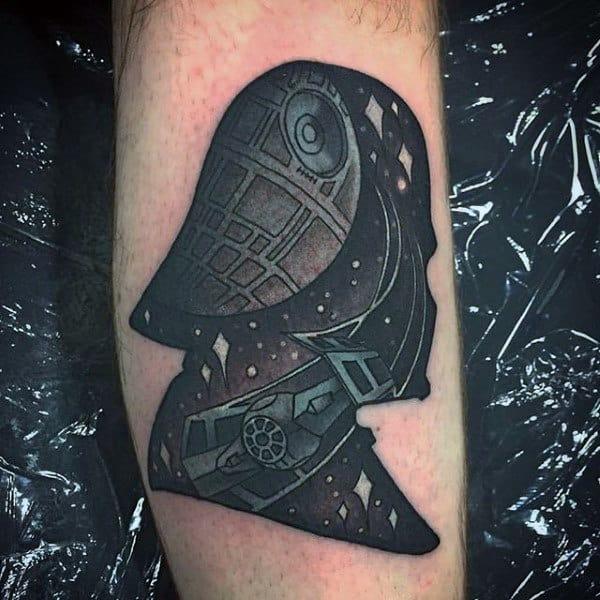Guys Grey Darth Vader Tattoo