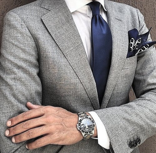 Guys Grey Suit With Blue Tie Style Designs