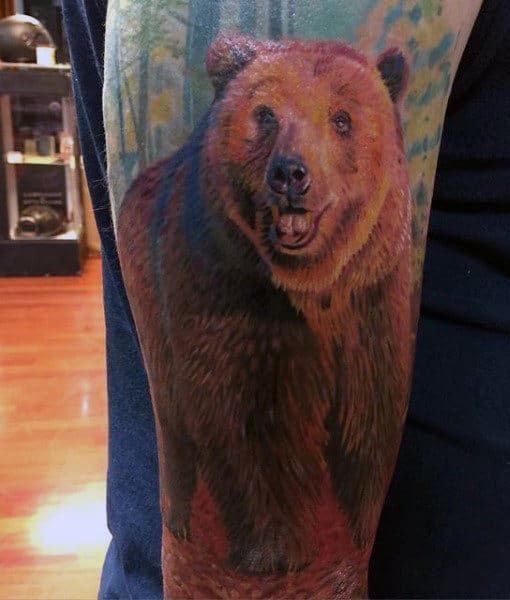 Guy's Grizzly Bear Tattoo IDeas