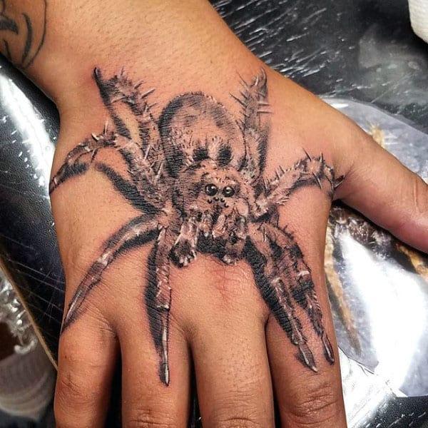 Guys Hairy Tarantula Hand Tattoo Ideas