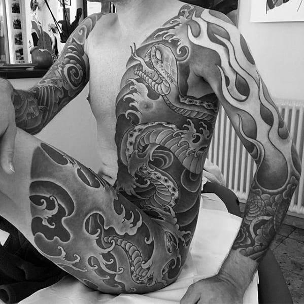 Guys Half Body Tattoos With Japanese Snake Design