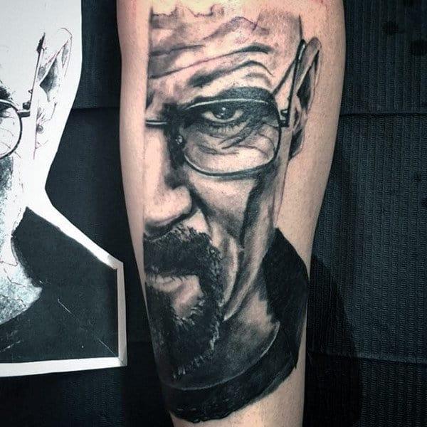 Guys Half Breaking Bad Walter White Portrait Tattoo On Leg