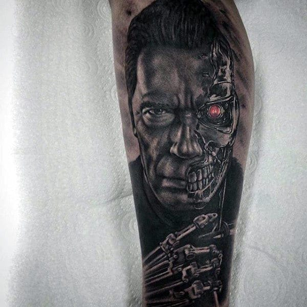 Guys Half Human Half Cyborg Terminator Sleeve Tattoo