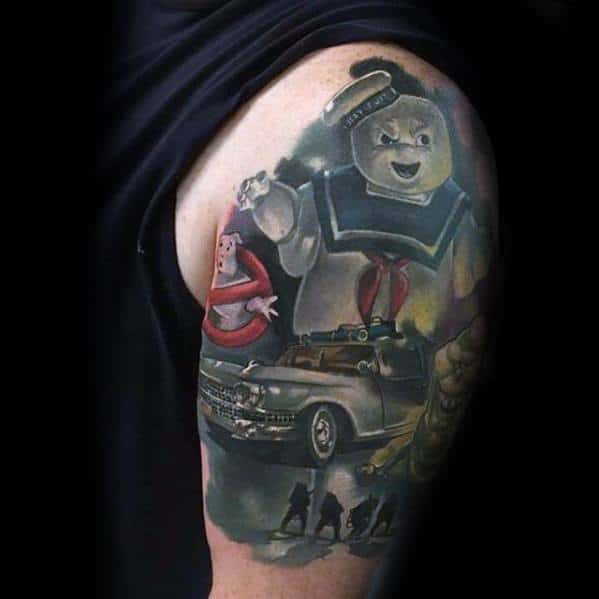 Guys Half Sleeve 3d Ghostbusters Tattoo Deisgns