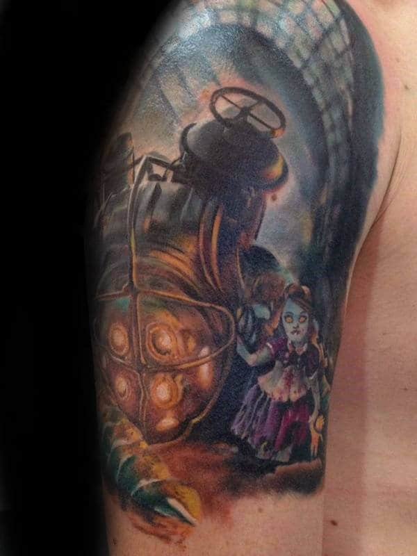 Guys Half Sleeve Bioshock Themed Tattoo Ideas