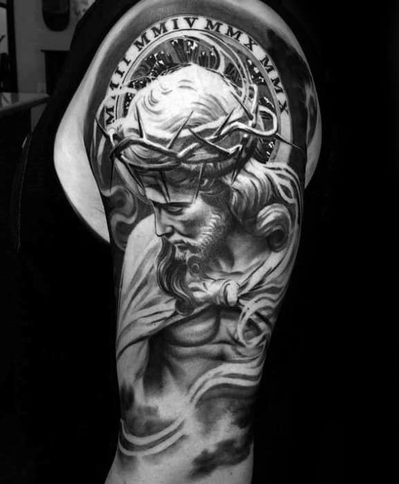 Guys Half Sleeve Black And Grey Tattoos With 3d Jesus Design