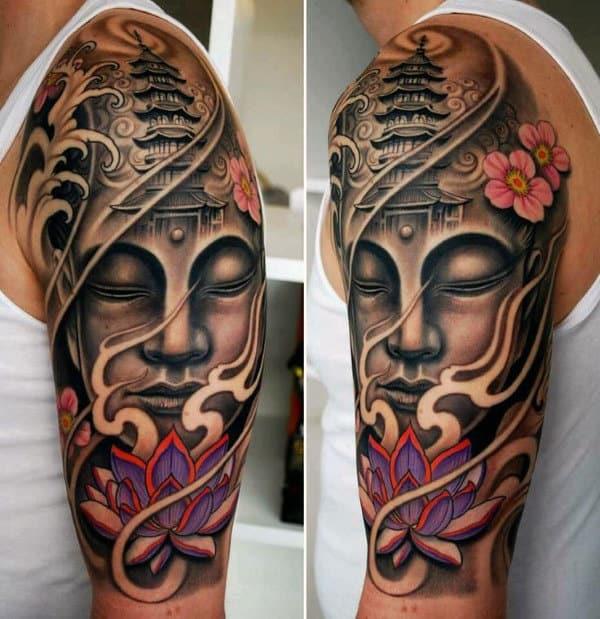 Guys Half Sleeve Buddha With Purple Lotus And Temple Tower Tattoo