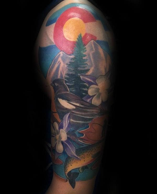 Guys Half Sleeve Colorado Tattoo Design Inspiration