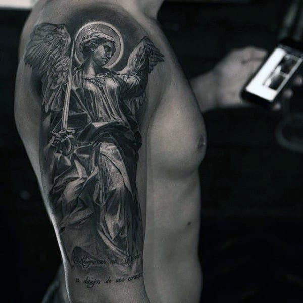 Guys Half Sleeve Guardian Angel Tattoo In Black Ink