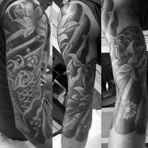 Guys Half Sleeve Heavily Shaded Water Lily With Koi Fish Japanese Tattoo