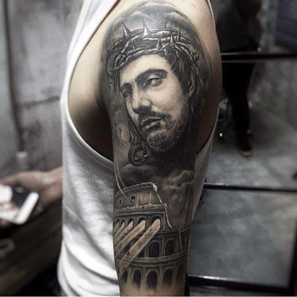 Guys Half Sleeve Jesus Tattoo Inspiration