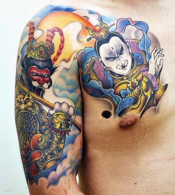 Guys Half Sleeve Monkey King Tattoo Ideas